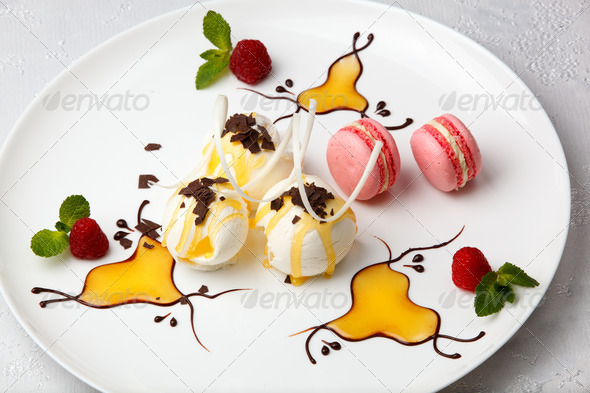 Ice cream with macaroons and berries - Stock Photo - Images