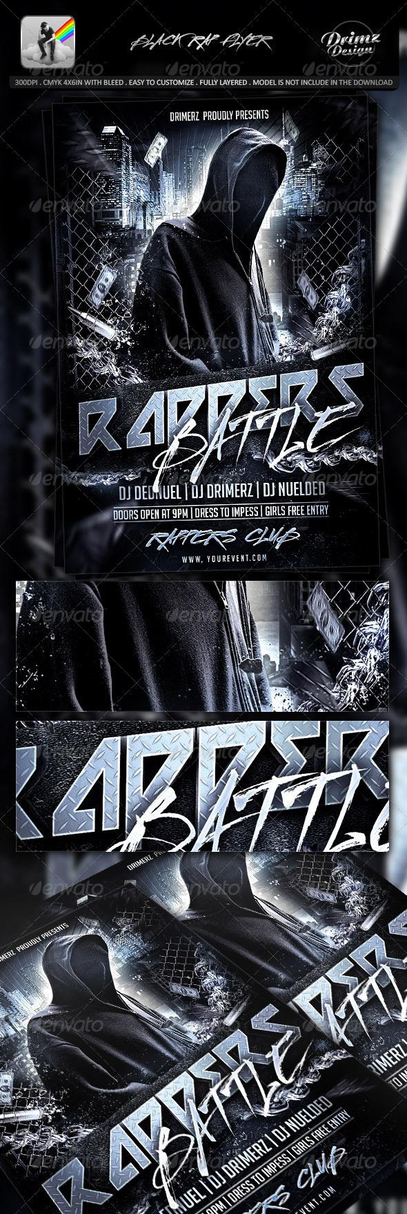 Black Rap Flyer - Events Flyers