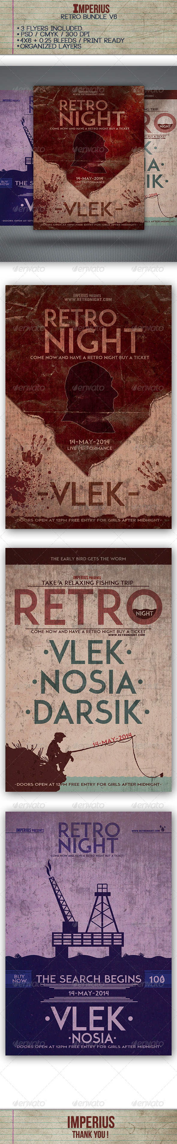 Retro Bundle V6 - Flyers Print Templates