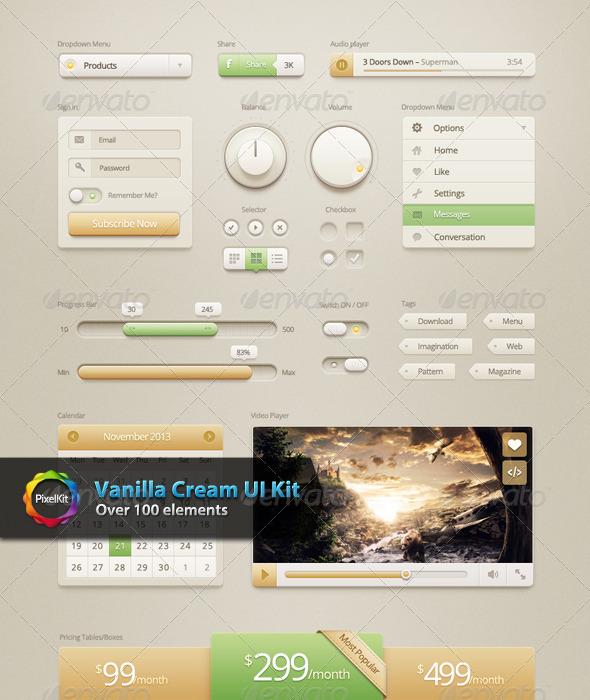 Vanilla Cream UI Kit - Web Elements
