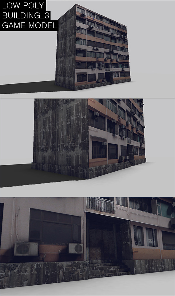 Low Poly Building 3 Game Model - 3DOcean Item for Sale