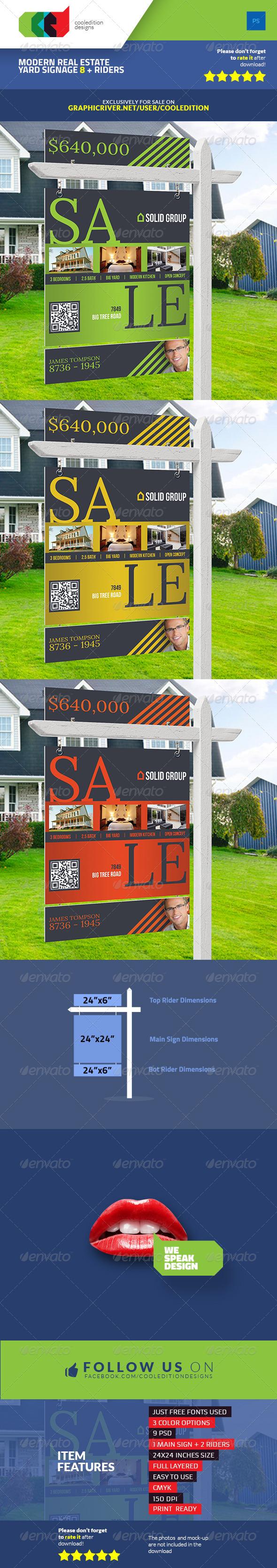 Modern Real Estate Yard Signage 8 + Riders - Signage Print Templates