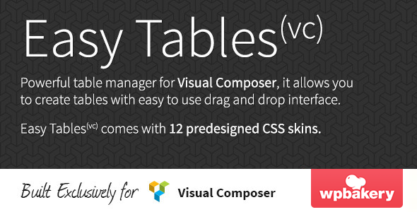 Easy Tables - Table Manager for Visual Composer - CodeCanyon Item for Sale