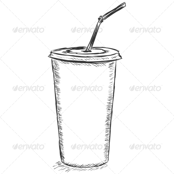 Plastic Cup Sketch by nikiteev | GraphicRiver