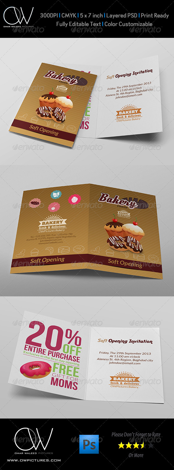 Bakery soft opening invitation card template by owpictures bakery soft opening invitation card template invitations cards invites stopboris Choice Image