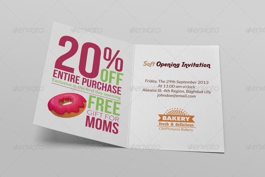 Bakery soft opening invitation card template by owpictures bakery soft opening invitation card template stopboris