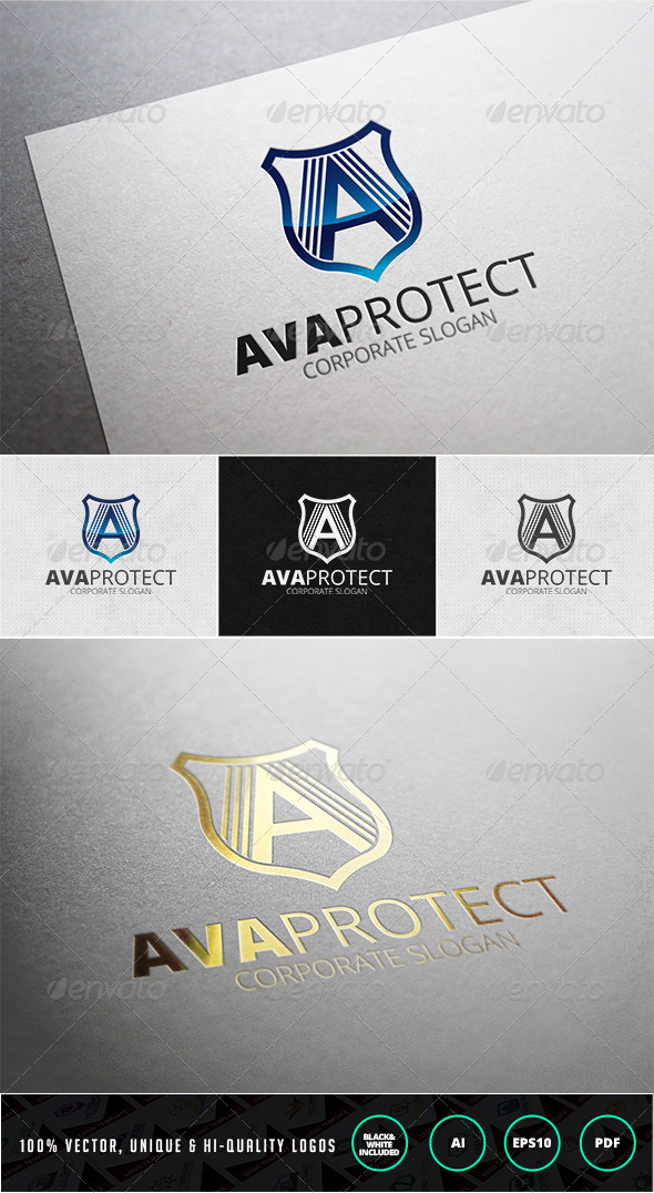 Ava Protect Logo Template - Letters Logo Templates