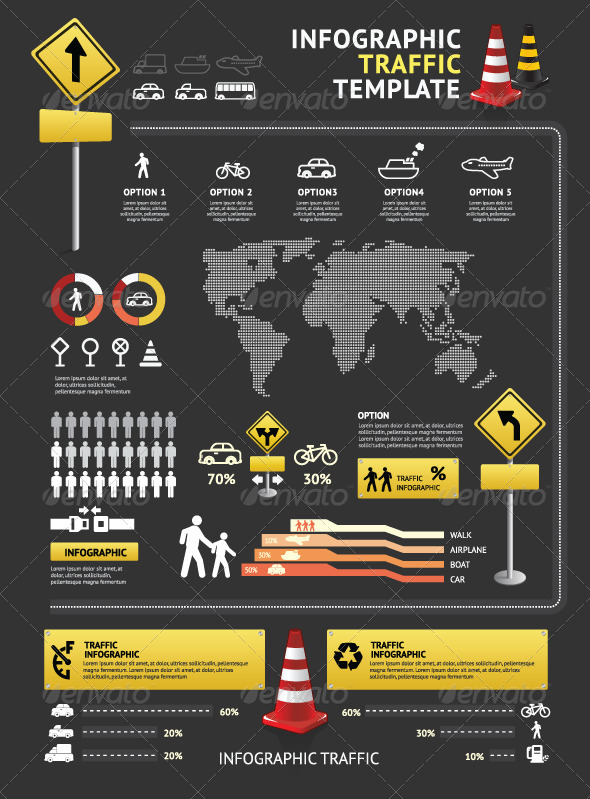 Infographic Elements Traffic Template Vector - Infographics