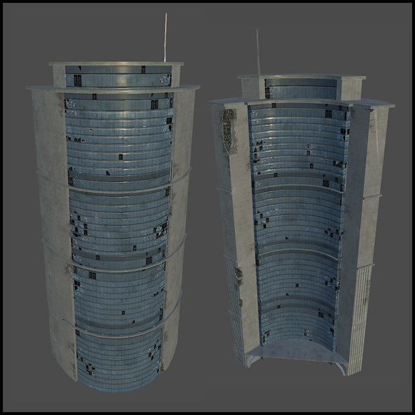 Cresent Shaped Background Building - 3DOcean Item for Sale
