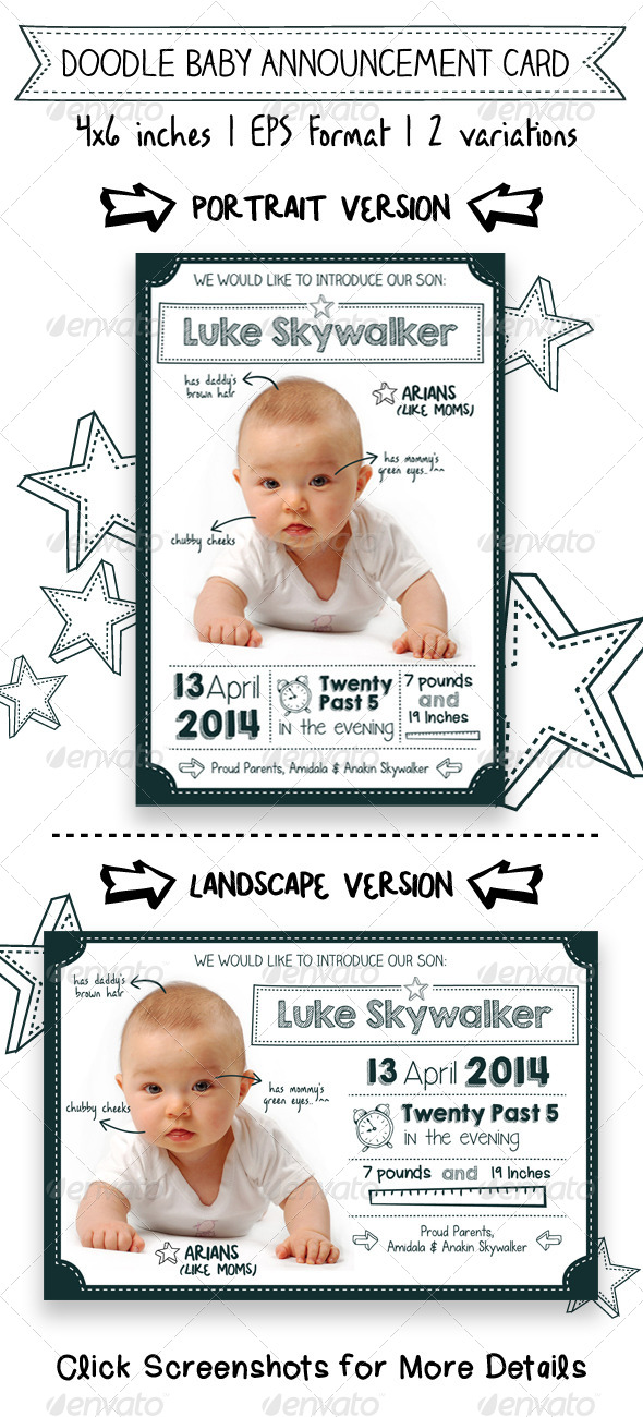 doodle baby announcement card family cards invites - Baby Announcement Cards