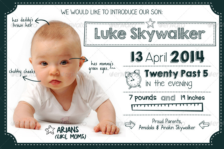 Doodle Baby Announcement Card by apriliapratama – Birth Announcement Card