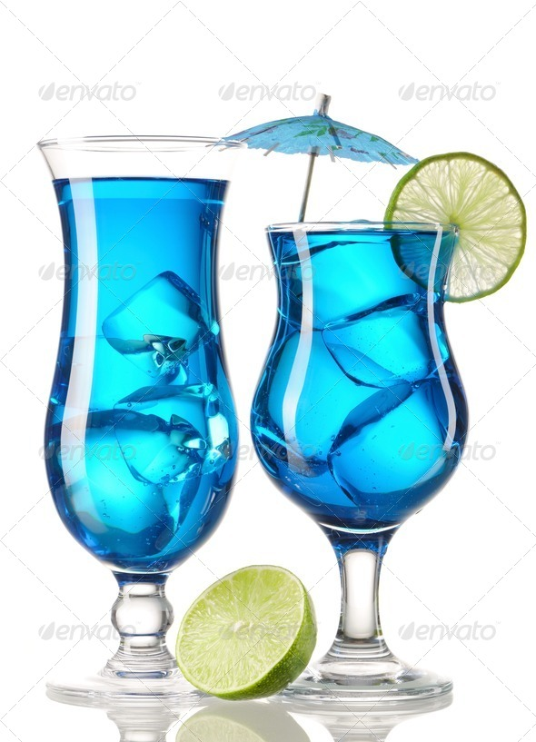 Blue Curacao cocktails - Stock Photo - Images