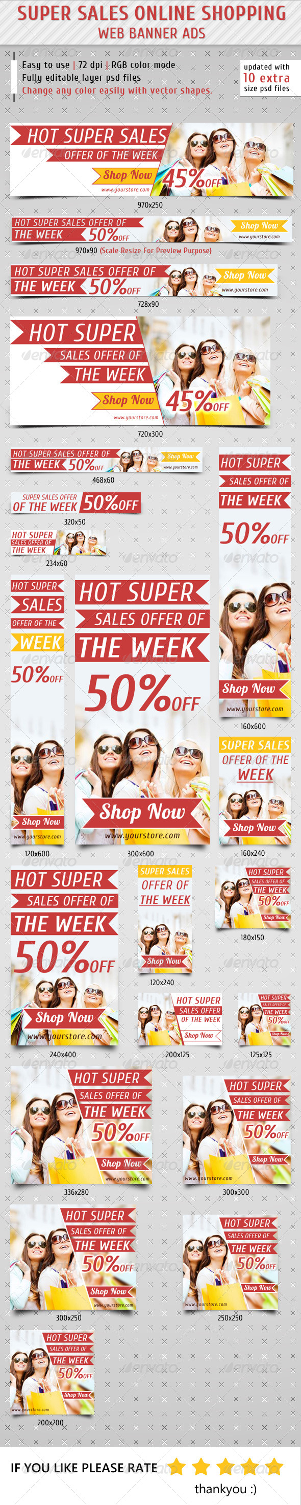 Super Sales Online Shopping Banner Ads - Banners & Ads Web Elements