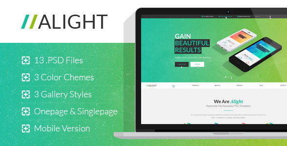 Alight - Multipurpose Onepage & Multipage PSD - Corporate PSD Templates