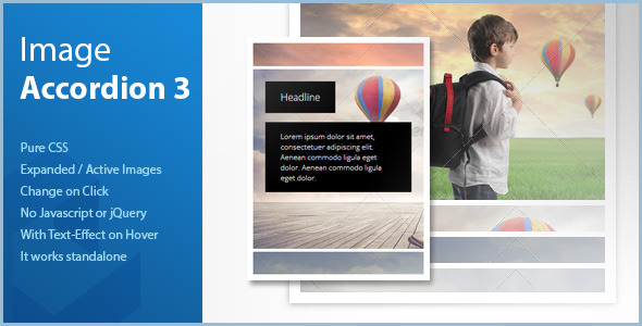 Pure CSS Vertical Image Accordion - Expanded on Cl - CodeCanyon Item for Sale