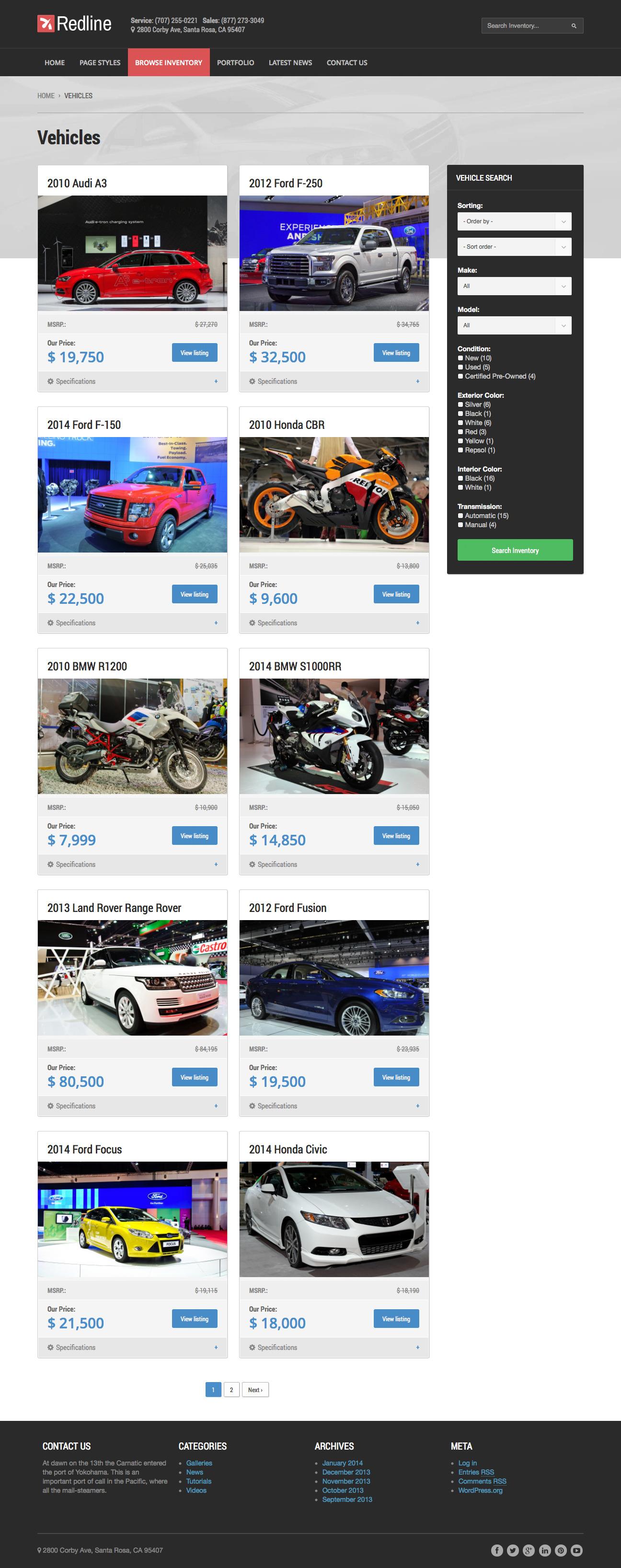Redline - Car Dealership WordPress Theme by ...