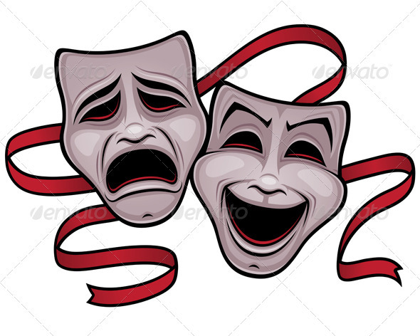 Comedy and Tragedy Theater Masks - Decorative Symbols Decorative