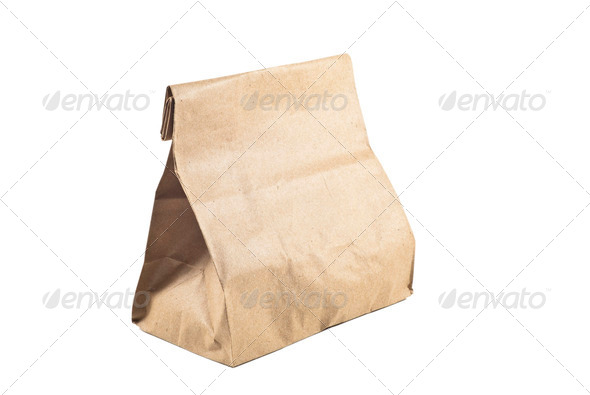 Paper bag on white background,isolated - Stock Photo - Images