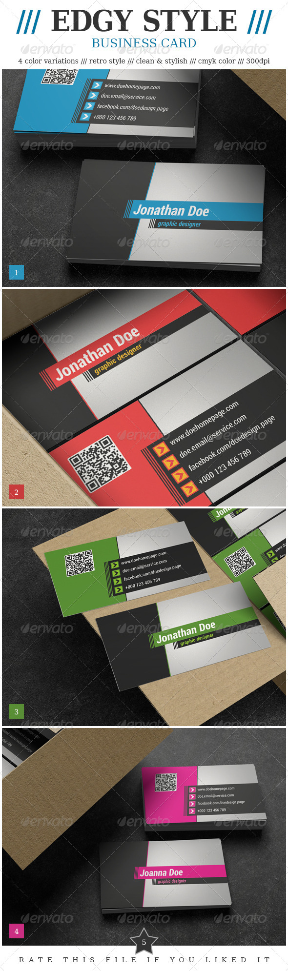 Edgy Style Business Card - Corporate Business Cards