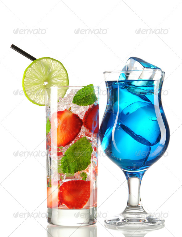 Strawberry mojito and Blue Curacao cocktails - Stock Photo - Images