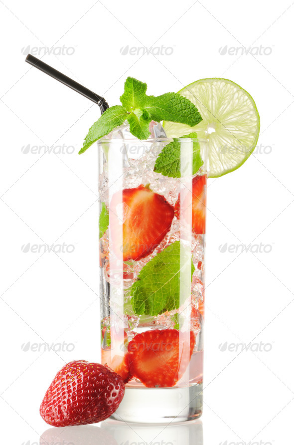 Strawberry mojito cocktail - Stock Photo - Images