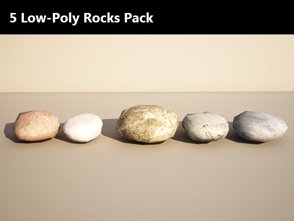 5 Low Poly Rocks Pack - 3DOcean Item for Sale