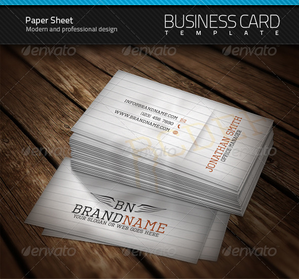 Paper Sheet Business Card - Creative Business Cards