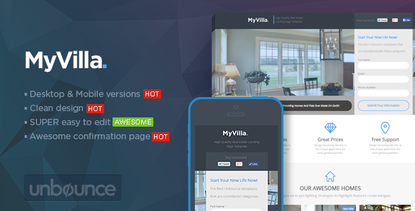 MyVilla – Real Estate Unbounce Template