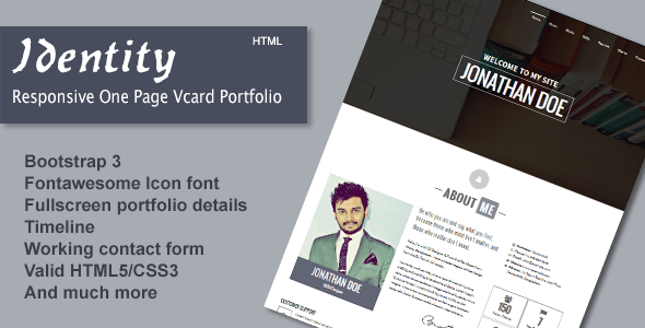 Identity - Responsive One Page Vcard Portfolio - Virtual Business Card Personal