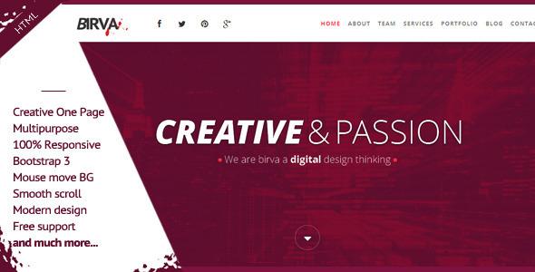 Birva- Responsive Multipurpose One Page HTML Theme - Portfolio Creative