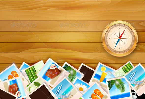Travel Photos and Compass on Wood Background by almoond ...