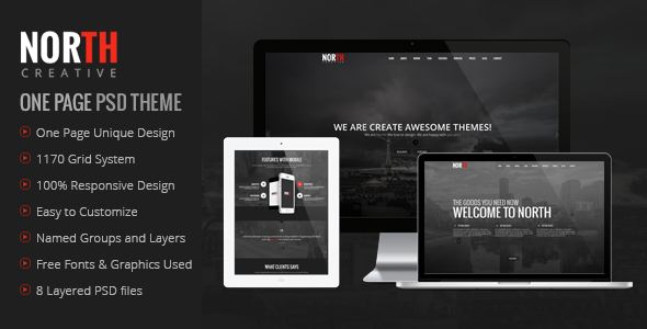 North One Page PSD Template - Creative PSD Templates