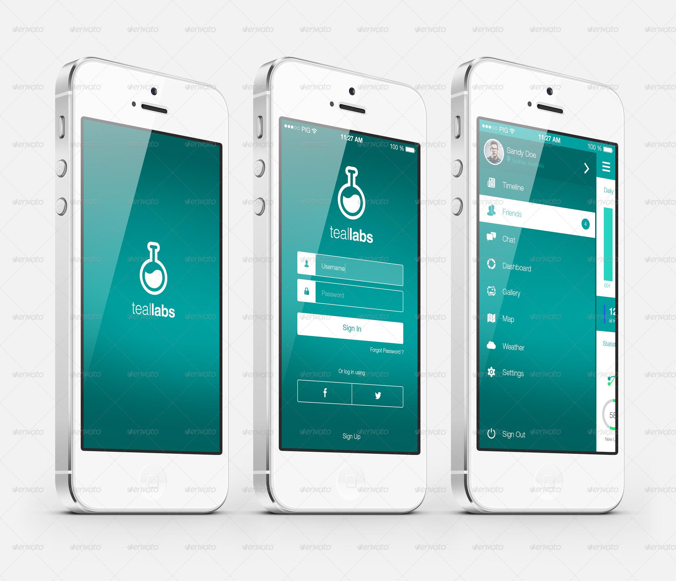 Modern & Cool Teal Flat Mobile UI Kit By Mondz