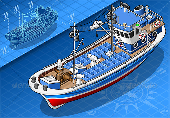 Isometric Fishing Boat Isolated in Front View - Objects Vectors