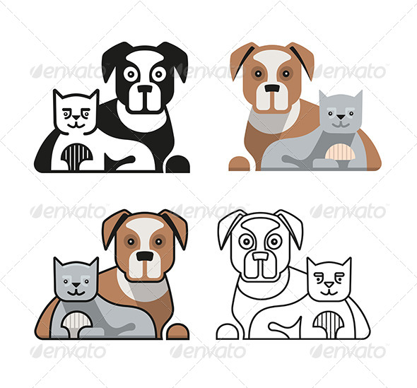 Dog and Cat Together - Animals Characters