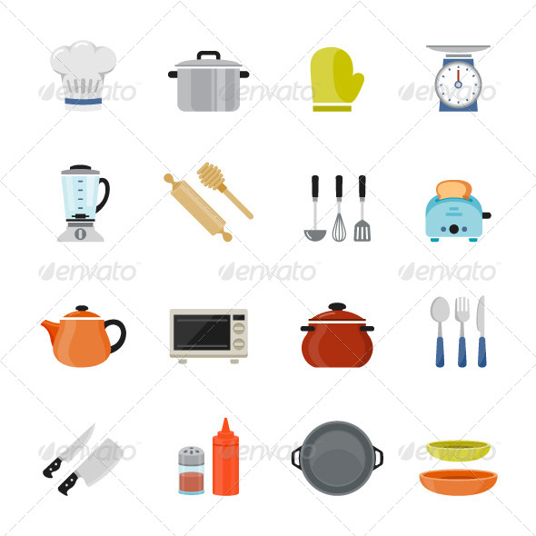 Merveilleux Kitchenware Icon Flat Design   Objects Icons
