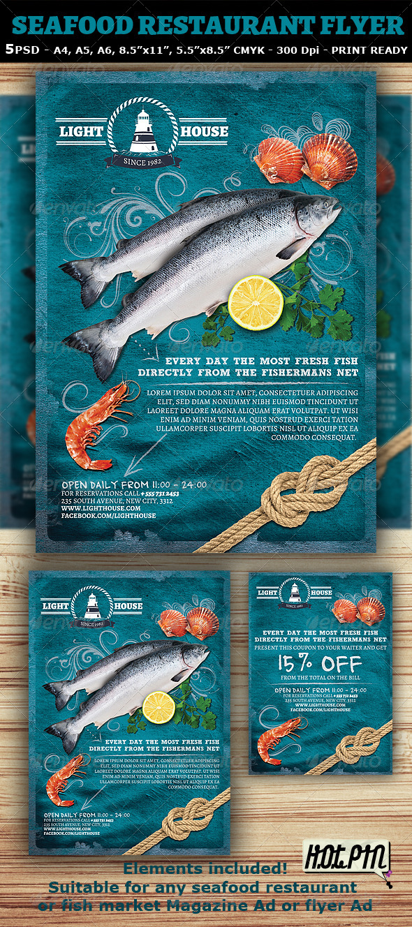 Seafood Restaurant Magazine Ad Or Flyer Template By Hotpin