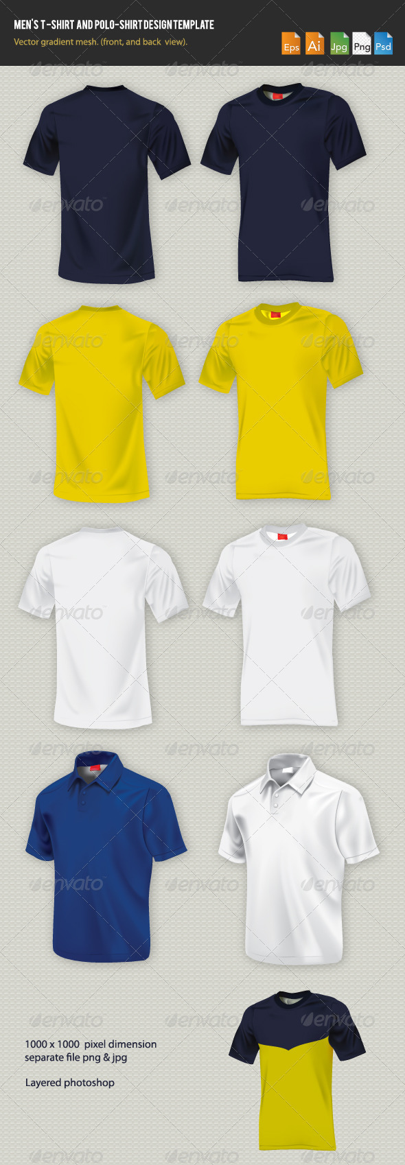Men's t-shirt design template  - Man-made Objects Objects