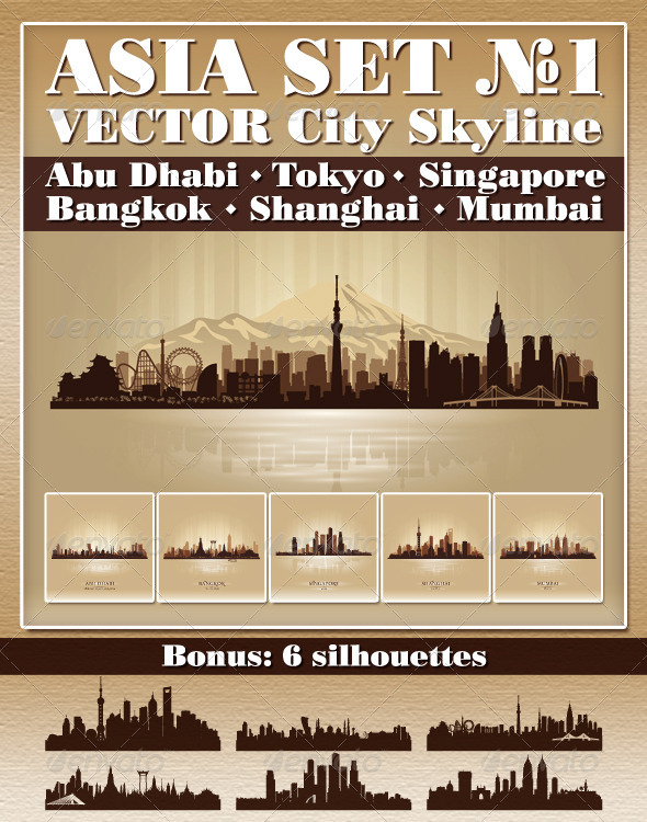 Vector City Skyline Asia Set Number 1 - Buildings Objects