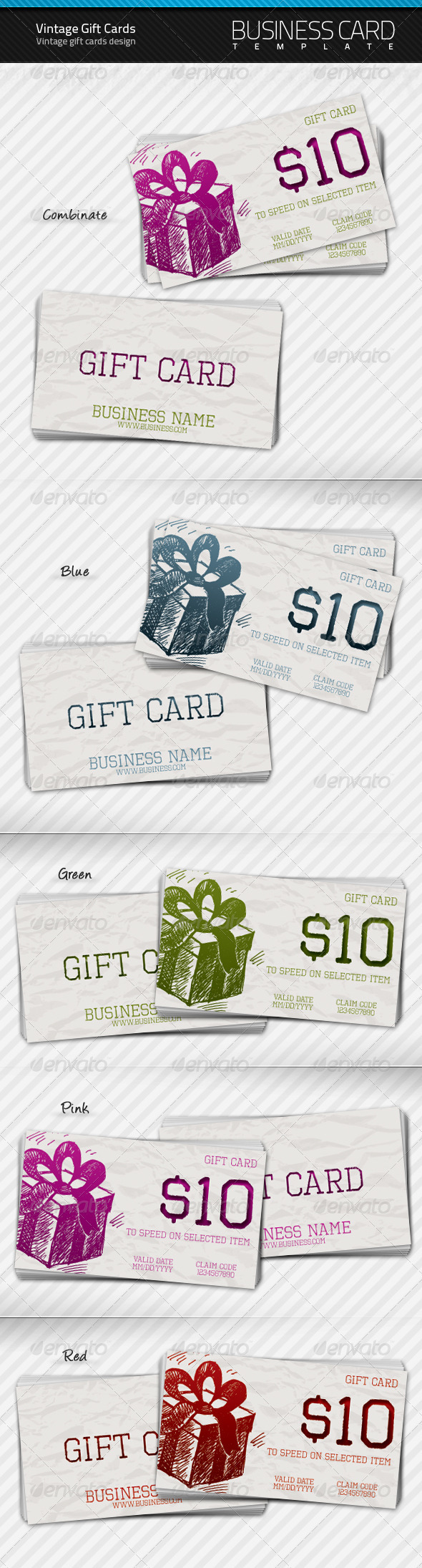 Vintage Gift Cards - Business Cards Print Templates
