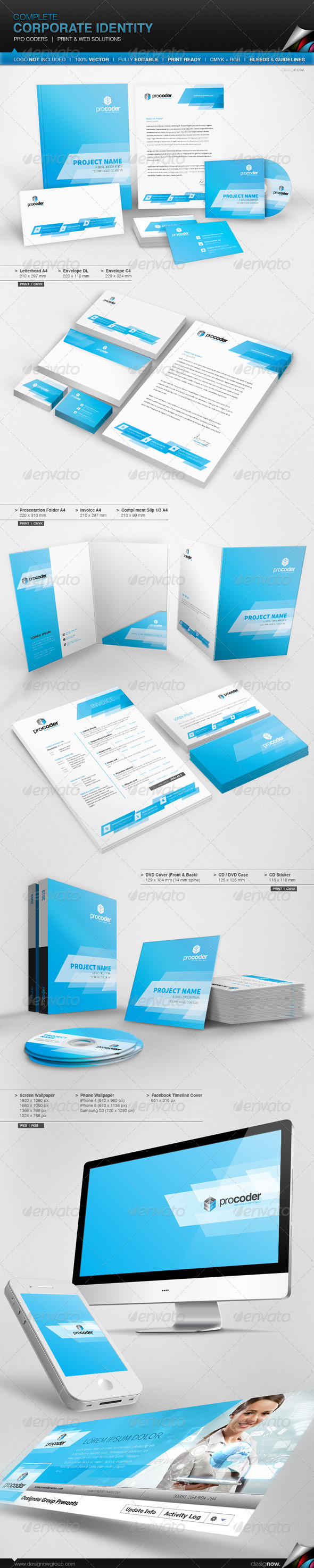 Corporate Identity - Pro Coders - Stationery Print Templates