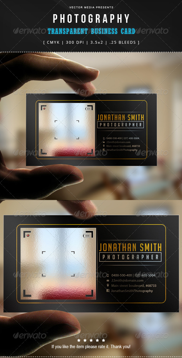 Photography - Transparent Business Card by VectorMedia | GraphicRiver