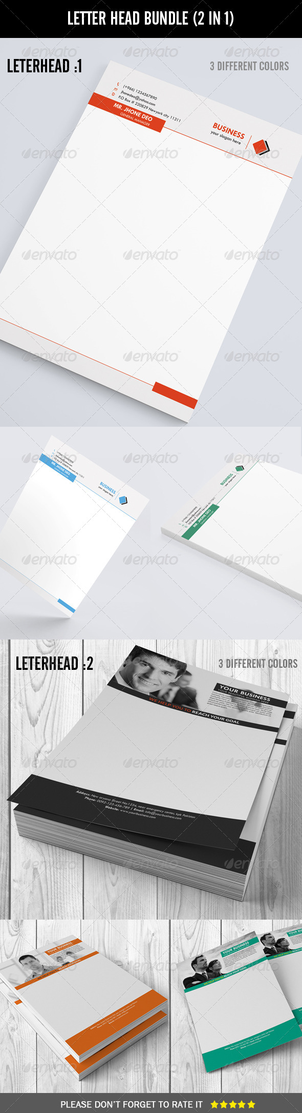 Letter Head Bundle (2 in 1) - Stationery Print Templates