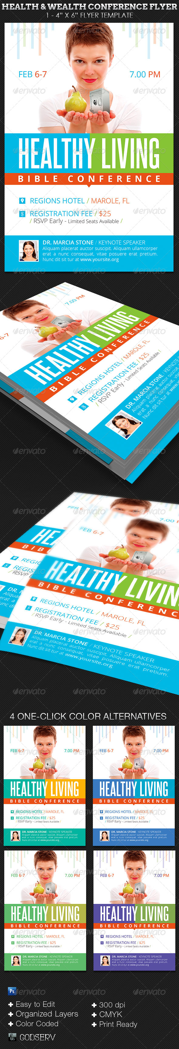 Health Wealth Conference Flyer Template - Church Flyers