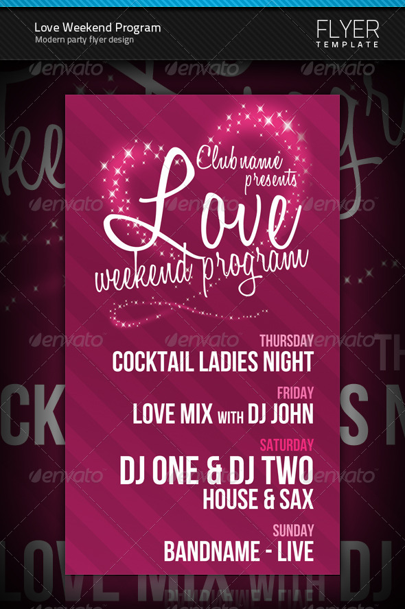 Love Weekend Program Flyer - Clubs & Parties Events