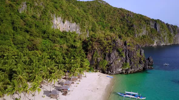 Aerial View Of Seven Commandos Beach Bacuit Bay El Nido Palawan Island Philippines