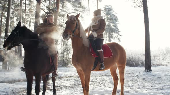 Loving Couple Sitting on Horses and Holding Hands Outdoor on Winter Day
