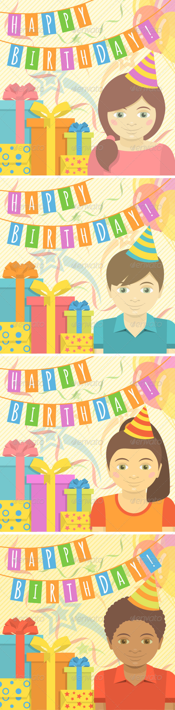 Happy Birthday Cards For Kids By Vectorikart Graphicriver