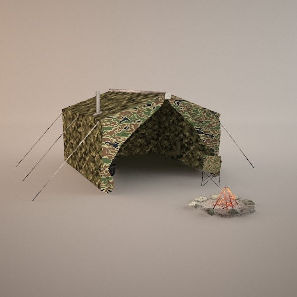 Lowpoly Hunting Tent - 3DOcean Item for Sale