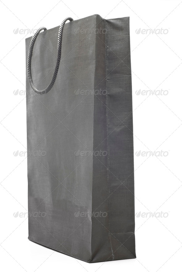 grey shopping bag isolated on white background - Stock Photo - Images